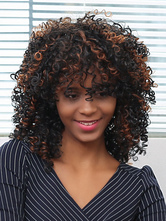 AF-S2-667747 Short Hair Wigs African American Deep Brown Corkscrew Curls Tousled Synthetic Wigs
