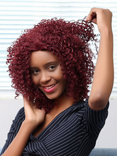 AF-S2-669811 Short Hair Wigs African American Dark Red Curly Synthetic Wigs