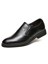 Casual noir chaussures ronde Toe PU chaussures plates hommes