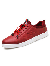 Red Skate Shoes Men's Round Toe Lace Up Metallic Detail Lightening Embossed Casual Shoes