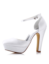 Scarpe da sposa bianco Satin tacco alto Round Toe piattaforma cinturino alla caviglia scarpe da sposa