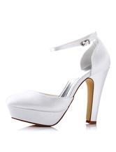 White Wedding Shoes Satin High Heel Round Toe Platform Ankle Strap Bridal Shoes