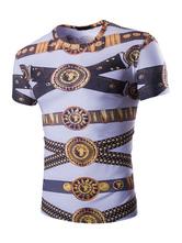 Camiseta de algodón mezclado con escote redondo con manga corta con estampado estampada estilo informalestilo street wear blanca