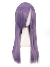 AF-S2-669855 Lavender Hair Wigs Long Straight Women's Side Swept Bangs Synthetic Hair Wigs