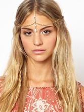 Cabeça de ouro correntes Boho triplo testa correntes acessórios de cabelo feminino