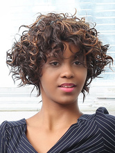 AF-S2-669931 Short Hair Wigs African American Deep Brown Tousled Curly Synthetic Wigs With Bangs