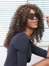 AF-S2-669925 Deep Brown Hair Wigs African American Tousled Corkscrew Curls Synthetic Wigs