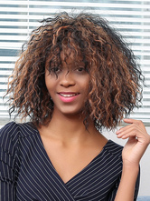 Anime Costumes AF-S2-669929 Short Hair Wigs African American Deep Brown Tousled Curly Synthetic Wigs With Bangs