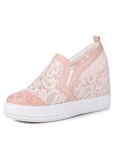 Pizzo rosa mocassini donna Cape Toe Slip On nascosti scarpe Casual
