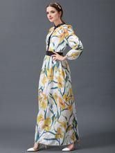 29b0bb2d34e7 ... Vestito lungo giallo in chiffon con colletto alla coreana maniche  lunghe con stampe modellante con stampe ...