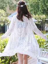 Lace Cover Up Women's Light Apricot Long Sleeve Semi Sheer Swimwear