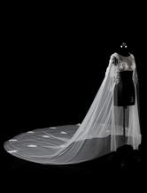 Cathédrale de Cape Ivoire Applique perle fleur 3D bord coupé Long nuptiale châle de mariage en dentelle