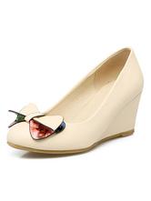 Zapatos de tacón de cuña de tacón de cuña de puntera redonda de PU con lazo estilo modernopara pasar por la noche fAd8D6jW0