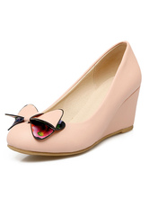 Women's Wedge Shoes Pink Round Toe Slip On Bow Decor Stylish Pump Shoes