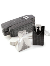 Wedding Favor Boxes Brides Groom Paper Wedding Party Favor Containers Set Of 12