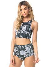 High Waisted Swimsuits Floral Print Zipper Beach Bathing Suits For Women