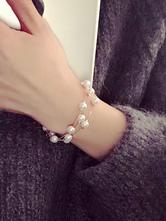 Braccialetto oro chic & moderno perle rotondo perle in lega d'acciaio