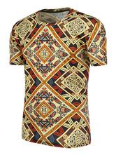 Camiseta de poliéster con escote redondo con manga corta con estampado estampada Estilo retro (arte decorativo)para ocasión informal amarilla