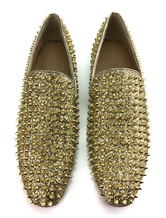 Men Loafers Square Gold Prom Shoes Round Toe Wood Heel Rivets Slip On Glittering Party Shoes