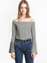 Women's Grey T Shirts Off The Shoulder Bell Sleeve Casual Tee Shirt Tops