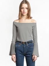 Frauen-Grau T Shirt Von der Schulter-Bell-Hülse beiläufige T-Shirt Spitzen
