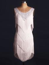 Robe de danse latine Costume Déguisements Halloween féminines franges blanches cristal