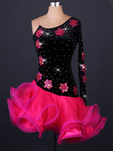 Latin Dance Dress Velour One Shoulder Flowers Rhinestones Beaded Two Tone Backless Ruffles Latin Dance Costume