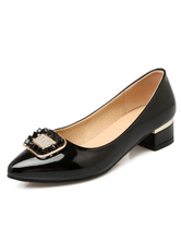 Zapatos de tacón medio de puntera puntiaguada de tacón gordo antideslizantes estilo modernopara pasar por la noche Charol PU HIyVmyhhe