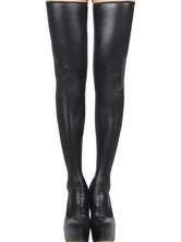 Black PU Stockings Women's Zipper Club Thigh High Socks