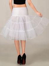 White Wedding Petticoat Tulle Boneless Half Slip Three Tier Bridal Petticoat