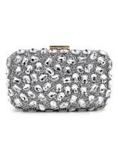 Bolsa de noiva de material sintético com corrente com Kiss Lock com diamante de limitação