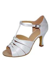 Zapatos de bailes latinos de PU Tacón bobina para baile de puntera abierta 6k9o8fa