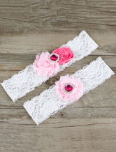 Lace Wedding Garter White Flowers Rhinestones Detail Bridal Garter