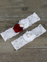 White Bridal Garter Lace Pearls Flowers Detail Wedding Accessories