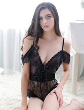 Lace Black Teddies Strappy Short Sleeve Cold Shoulder Semi-Sheer Teddy Lingerie