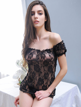 Women's Black Chemise Lace Off The Shoulder Sheer Sexy Lingerie