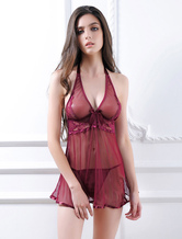 Women's Red Chemise Sheer Halter Sexy Lingerie 3 Piece Outfit