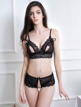 Triangle Bra Set Black Lace Crotchless Underwear Sexy Lingerie