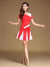 Traje de baile latino de fibra sintética fibra de poliéster de dos tonosEntrenamiento estilo femenino