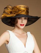 Women's Vintage Hat Organza Flower Feather Wide Brim Retro Hat Halloween