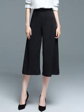 6ce6fb2be7 ... Pantalones cortos para mujer Negro Pantalones anchos sueltos de pierna  alta-No.4 ...