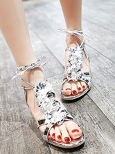 b88c6f5eab5 ... Gold Strappy Sandals Chunky Heel Metallic Flowers Beaded Lace Up Sandal  Shoes-No.4 ...