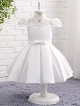 Lace Flower Girl Dress Ivory Bow Sash Mandarin Collar Rhinestone Cap Sleeve Princess Knee Length Ruched Toddler's Dinner Dress