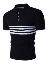 Black Polo Shirts Striped Short Sleeve Men's Summer Cotton T Shirts