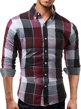 Red Casual Shirt Turndown Collar Long Sleeve Plaid Regular Fit Cotton Top For Men