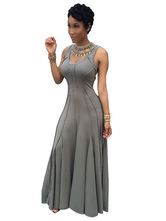 Grey Maxi Dress Sleeveless Pleated Women's U Neck Long Dresses