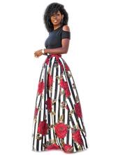 Black Maxi Dress Floral Print Cold Shoulder Women's Summer Long Dresses