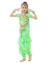 Belly Dance Costume Kids Orange Chiffon Bollywood Indian Dancing Costumes