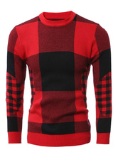 Красный плед свитер Мужские длинные Crewneck случайные вязаные топы
