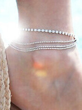Silver Ankle Bracelet Beaded Tiered Foot Chains Women's Beach Anklets